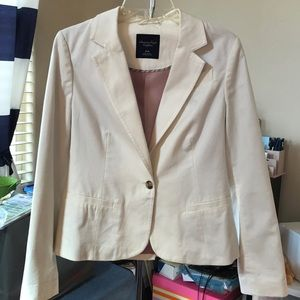 American Eagle Outfitters Off White Cotton Blazer